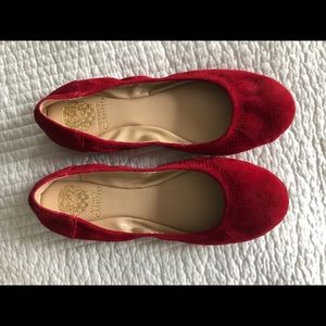 Vince Camuto Red Suede Ballet Flats